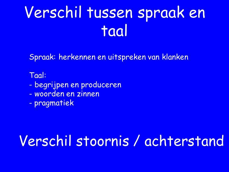 Verschil tussen spraak en taal Spraak: herkennen en uitspreken van klanken Taal: - begrijpen en produceren - woorden en zinnen - pragmatiek Verschil stoornis / achterstand