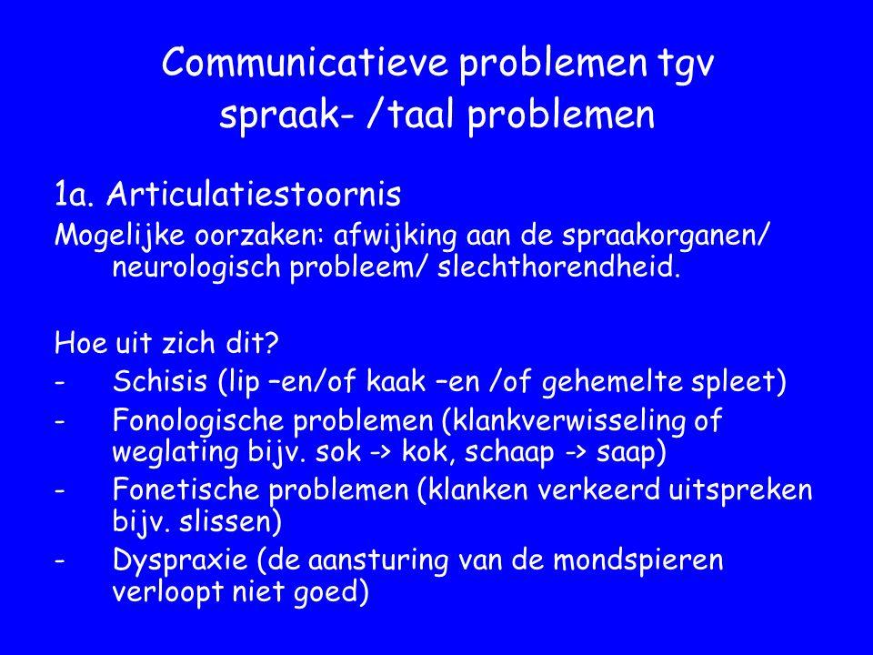 Communicatieve problemen tgv spraak- /taal problemen 1a.