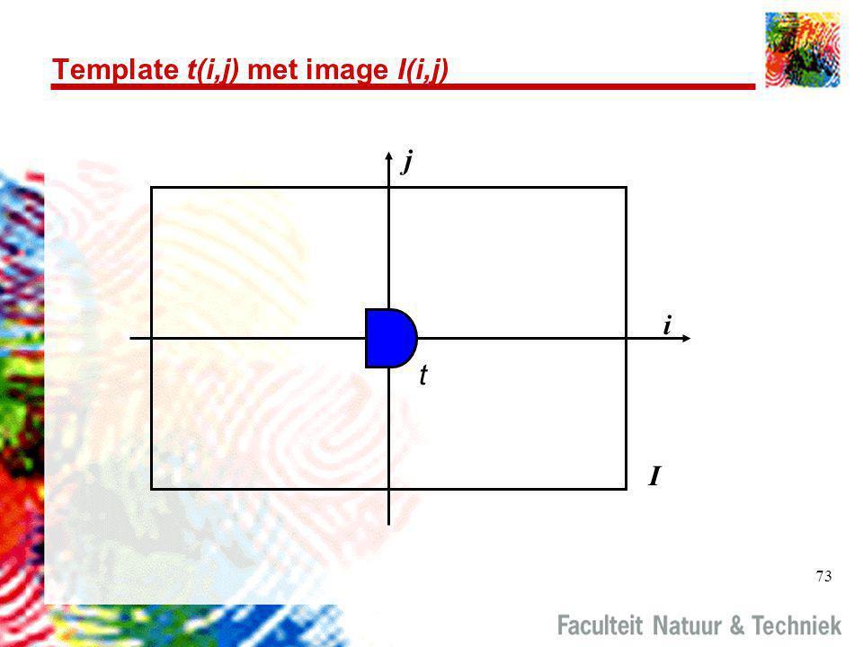 73 Template t(i,j) met image I(i,j) i j I t