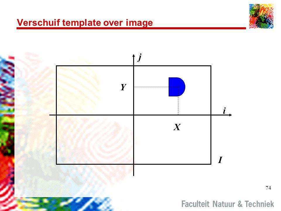74 Verschuif template over image i j I X Y