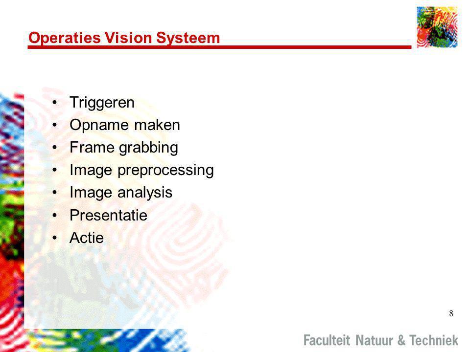 8 Operaties Vision Systeem •Triggeren •Opname maken •Frame grabbing •Image preprocessing •Image analysis •Presentatie •Actie