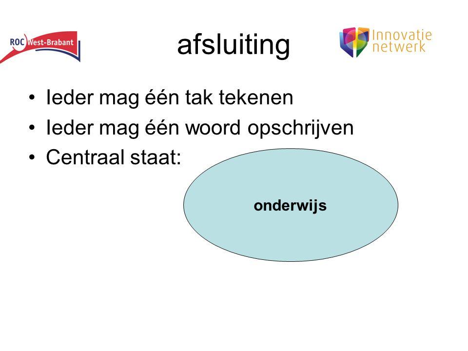afsluiting •Ieder mag één tak tekenen •Ieder mag één woord opschrijven •Centraal staat: onderwijs