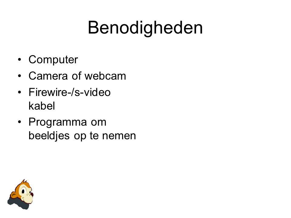 Benodigheden •Computer •Camera of webcam •Firewire-/s-video kabel •Programma om beeldjes op te nemen