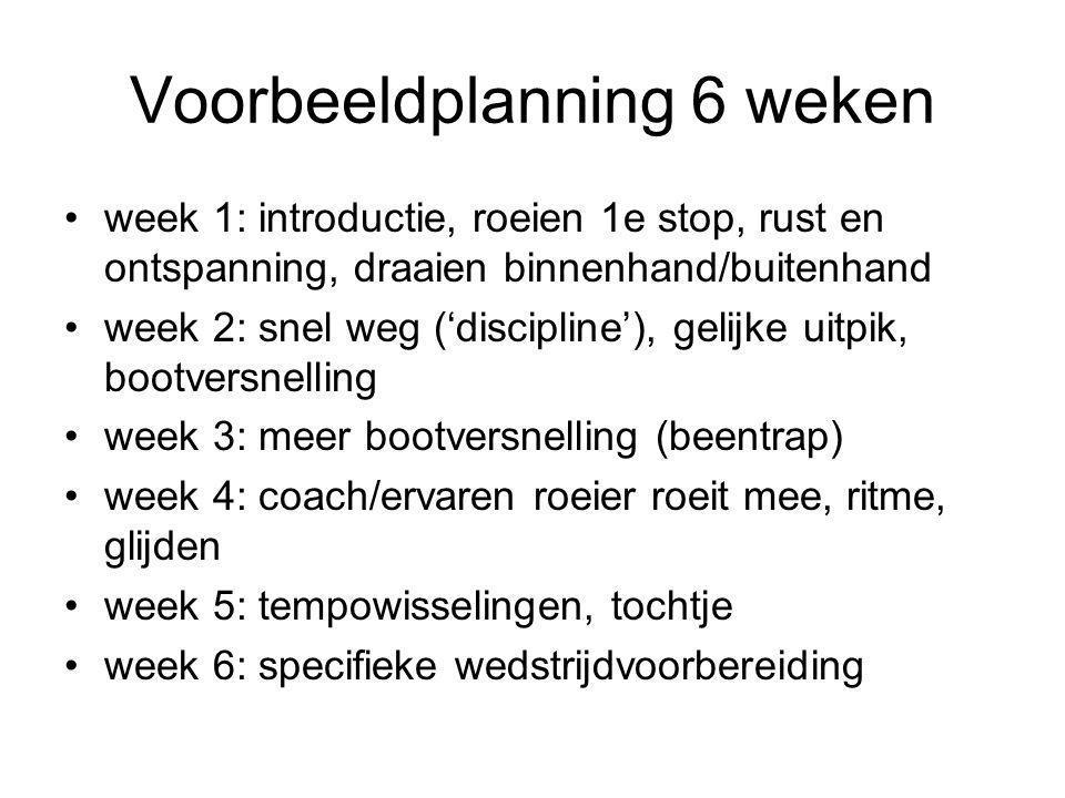 Voorbeeldplanning 6 weken •week 1: introductie, roeien 1e stop, rust en ontspanning, draaien binnenhand/buitenhand •week 2: snel weg ('discipline'), gelijke uitpik, bootversnelling •week 3: meer bootversnelling (beentrap) •week 4: coach/ervaren roeier roeit mee, ritme, glijden •week 5: tempowisselingen, tochtje •week 6: specifieke wedstrijdvoorbereiding