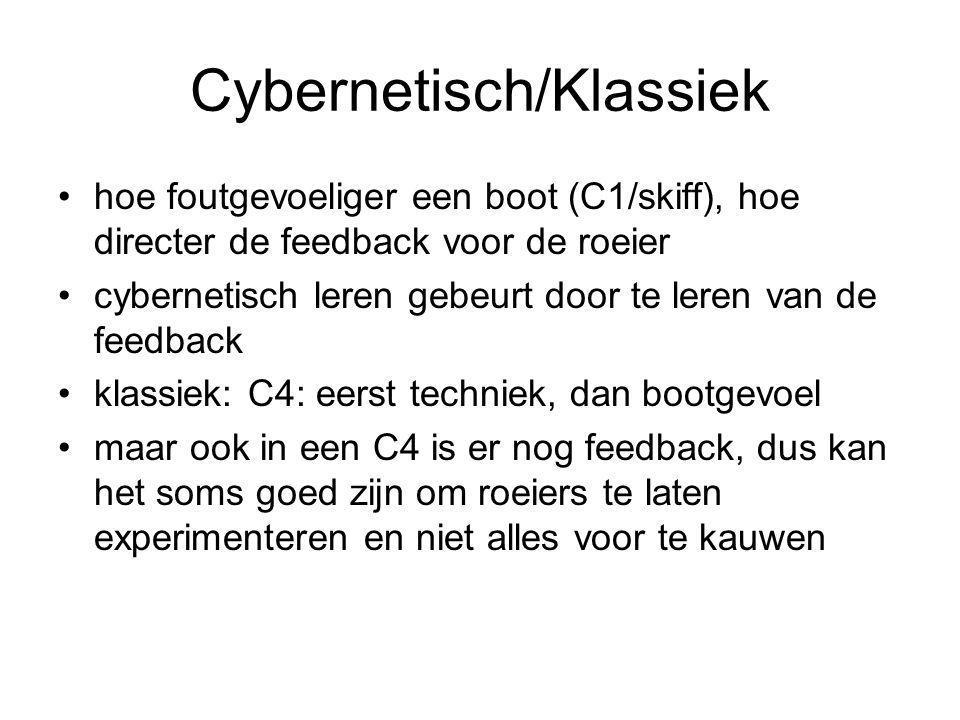 Cybernetisch/Klassiek •hoe foutgevoeliger een boot (C1/skiff), hoe directer de feedback voor de roeier •cybernetisch leren gebeurt door te leren van de feedback •klassiek: C4: eerst techniek, dan bootgevoel •maar ook in een C4 is er nog feedback, dus kan het soms goed zijn om roeiers te laten experimenteren en niet alles voor te kauwen