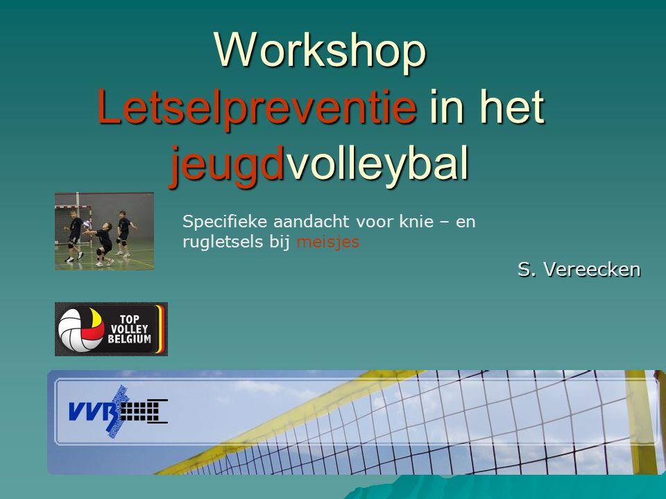 Workshop Letselpreventie in het jeugdvolleybal S. Vereecken Specifieke aandacht voor knie – en rugletsels bij meisjes
