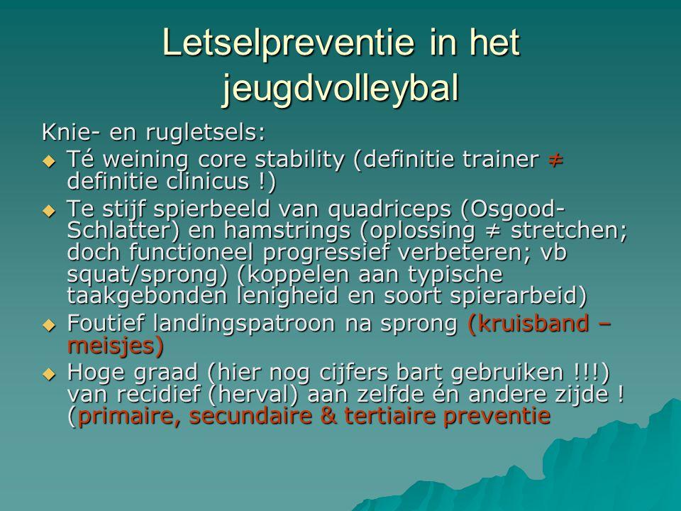 Letselpreventie in het jeugdvolleybal Knie- en rugletsels:  Té weining core stability (definitie trainer ≠ definitie clinicus !)  Te stijf spierbeel