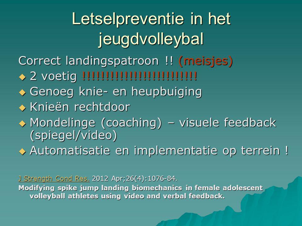 Letselpreventie in het jeugdvolleybal Correct landingspatroon !! (meisjes)  2 voetig !!!!!!!!!!!!!!!!!!!!!!!!!  Genoeg knie- en heupbuiging  Knieën