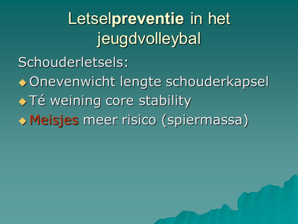 Letselpreventie in het jeugdvolleybal Schouderletsels:  Onevenwicht lengte schouderkapsel  Té weining core stability  Meisjes meer risico (spiermas