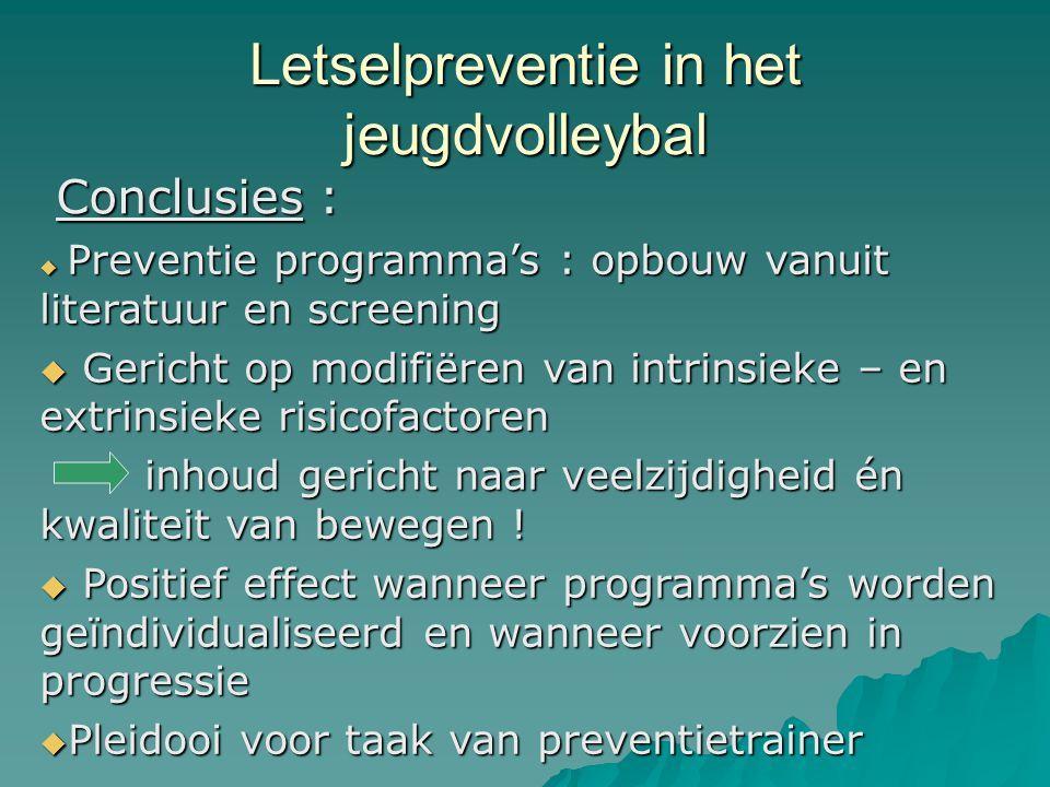 Letselpreventie in het jeugdvolleybal Conclusies :  Preventie programma's : opbouw vanuit literatuur en screening  Gericht op modifiëren van intrins