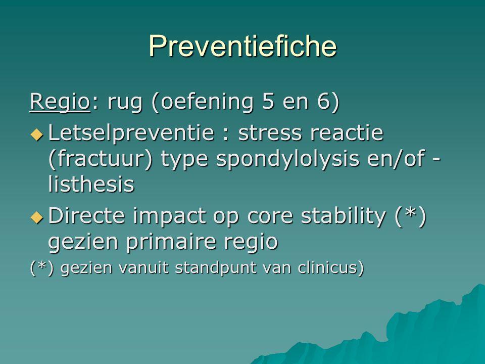 Preventiefiche Regio: rug (oefening 5 en 6)  Letselpreventie : stress reactie (fractuur) type spondylolysis en/of - listhesis  Directe impact op cor