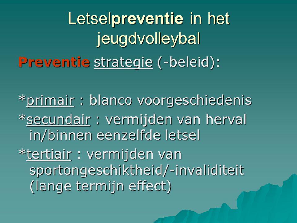 Letselpreventie in het jeugdvolleybal Preventie strategie (-beleid): *primair : blanco voorgeschiedenis *secundair : vermijden van herval in/binnen ee