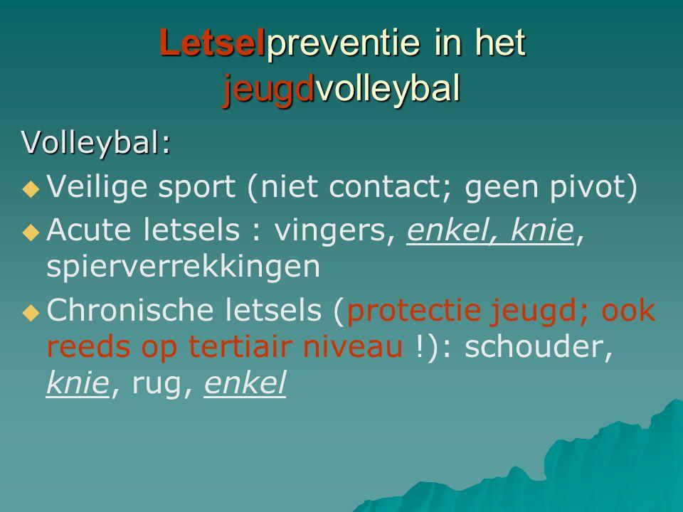 Volleybal:   Veilige sport (niet contact; geen pivot)   Acute letsels : vingers, enkel, knie, spierverrekkingen   Chronische letsels (protectie