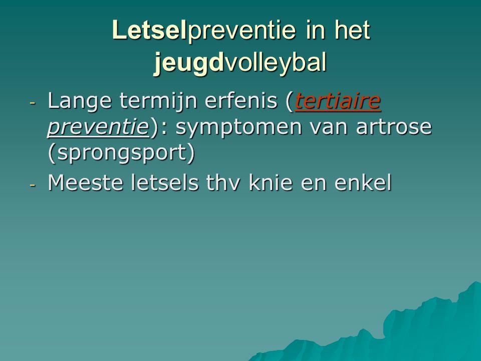 Letselpreventie in het jeugdvolleybal - Lange termijn erfenis (tertiaire preventie): symptomen van artrose (sprongsport) - Meeste letsels thv knie en
