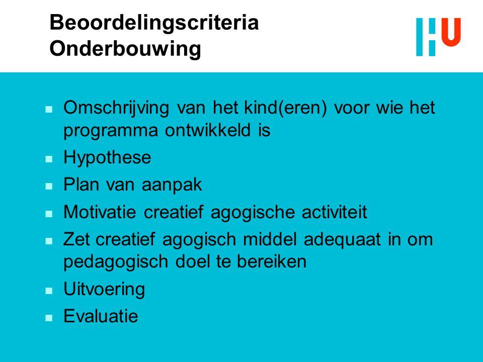 Beoordelingscriteria Onderbouwing  Omschrijving van het kind(eren) voor wie het programma ontwikkeld is  Hypothese  Plan van aanpak  Motivatie cre