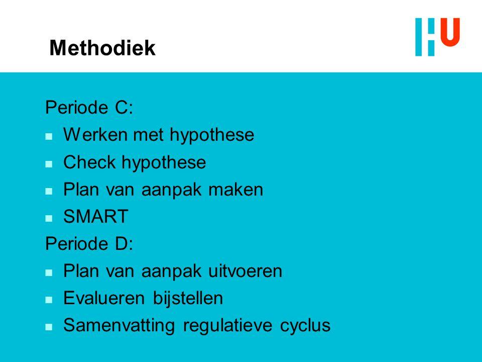 Methodiek Periode C:  Werken met hypothese  Check hypothese  Plan van aanpak maken  SMART Periode D:  Plan van aanpak uitvoeren  Evalueren bijst