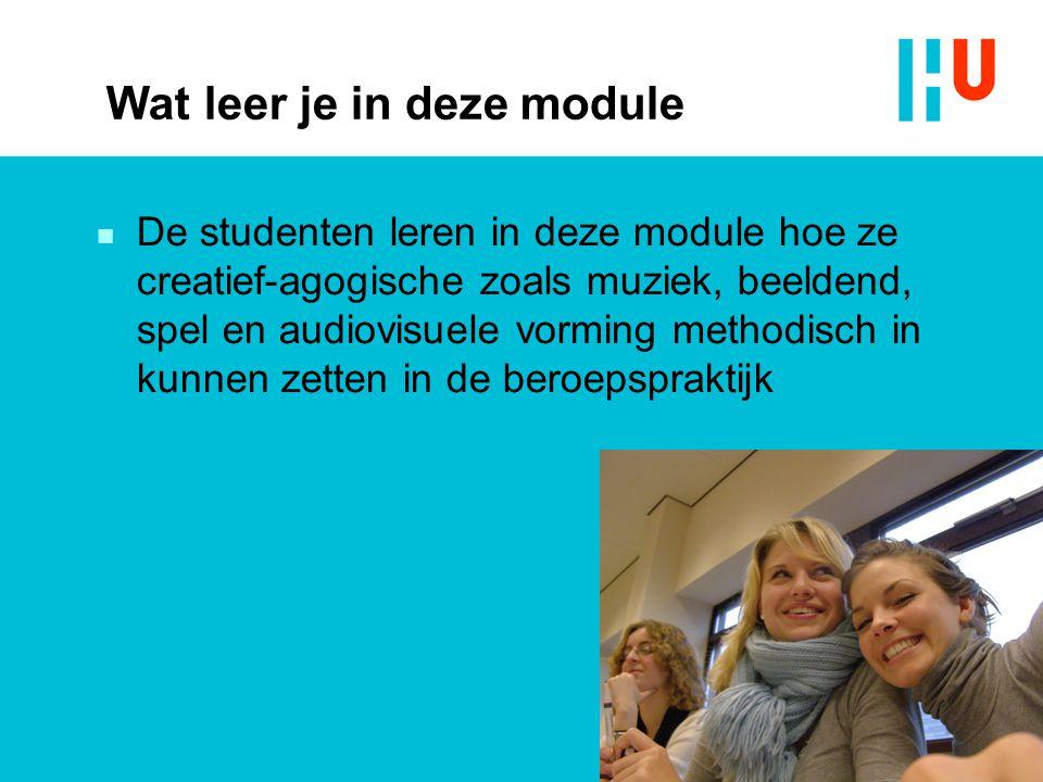 Wat leer je in deze module  De studenten leren in deze module hoe ze creatief-agogische zoals muziek, beeldend, spel en audiovisuele vorming methodis