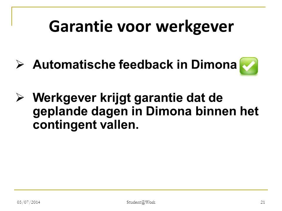 05/07/2014 Student@Work 21 Garantie voor werkgever  Automatische feedback in Dimona  Werkgever krijgt garantie dat de geplande dagen in Dimona binne