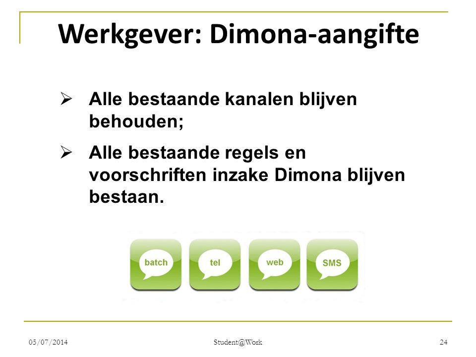 05/07/2014 Student@Work 24 Werkgever: Dimona-aangifte  Alle bestaande kanalen blijven behouden;  Alle bestaande regels en voorschriften inzake Dimon