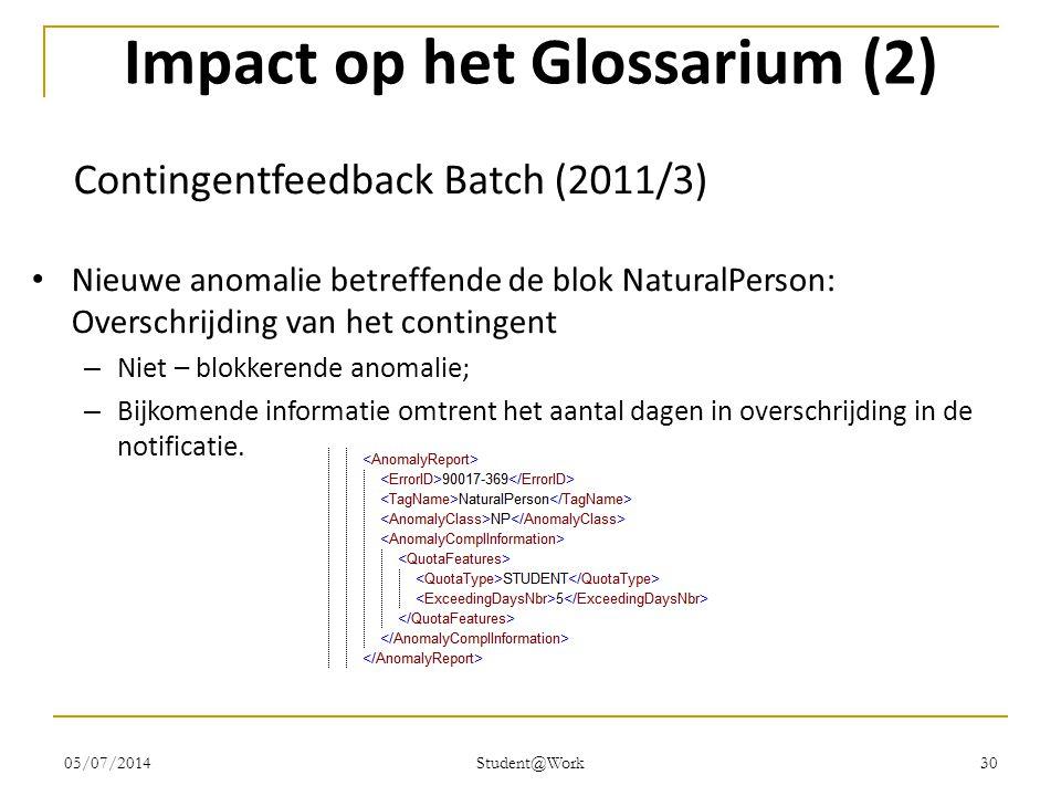 05/07/2014 Student@Work 30 Impact op het Glossarium (2) Contingentfeedback Batch (2011/3) • Nieuwe anomalie betreffende de blok NaturalPerson: Oversch