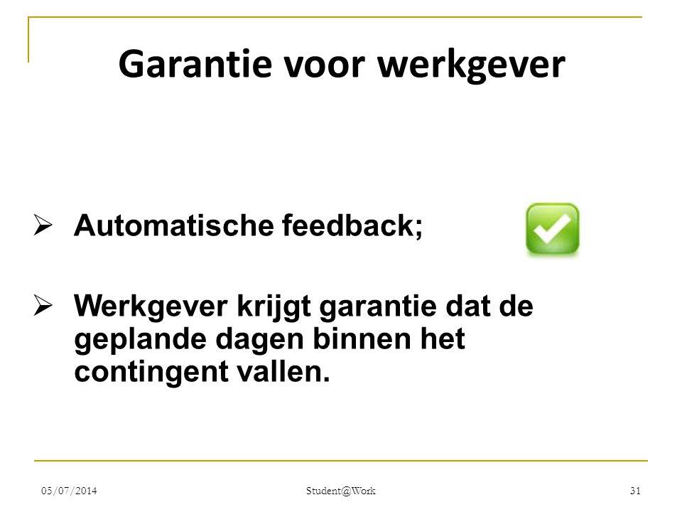 05/07/2014 Student@Work 31 Garantie voor werkgever  Automatische feedback;  Werkgever krijgt garantie dat de geplande dagen binnen het contingent va