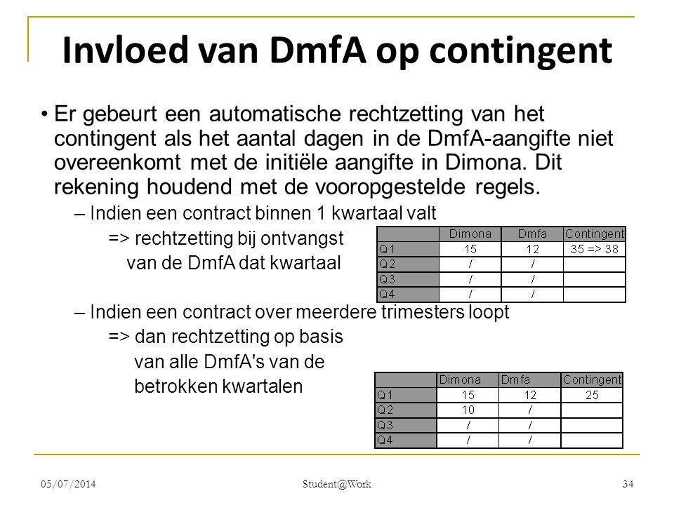 05/07/2014 Student@Work 34 Invloed van DmfA op contingent •Er gebeurt een automatische rechtzetting van het contingent als het aantal dagen in de DmfA