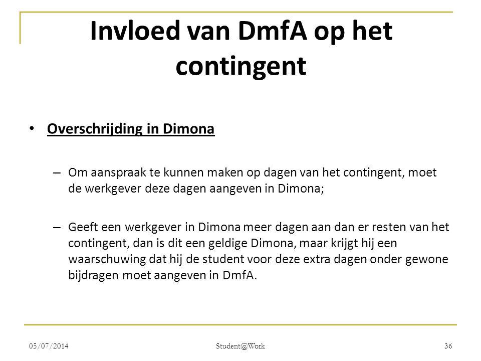 05/07/2014 Student@Work 36 Invloed van DmfA op het contingent • Overschrijding in Dimona – Om aanspraak te kunnen maken op dagen van het contingent, m