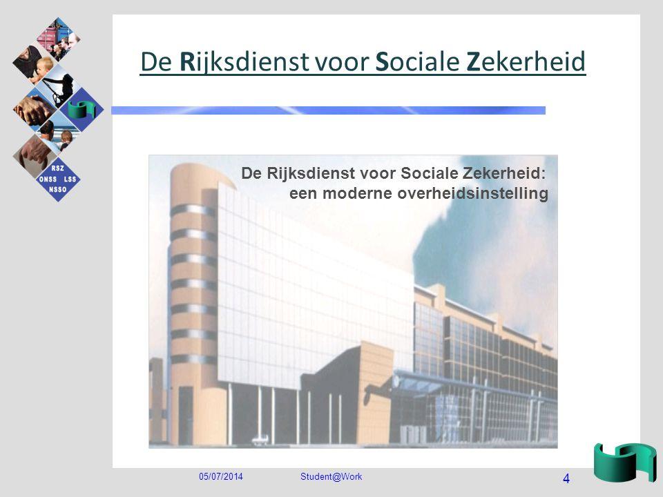 05/07/2014Student@Work 4 De Rijksdienst voor Sociale Zekerheid De Rijksdienst voor Sociale Zekerheid: een moderne overheidsinstelling