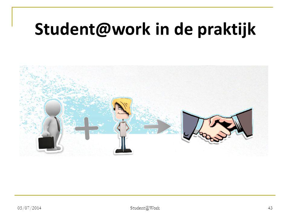 05/07/2014 Student@Work 43 Student@work in de praktijk