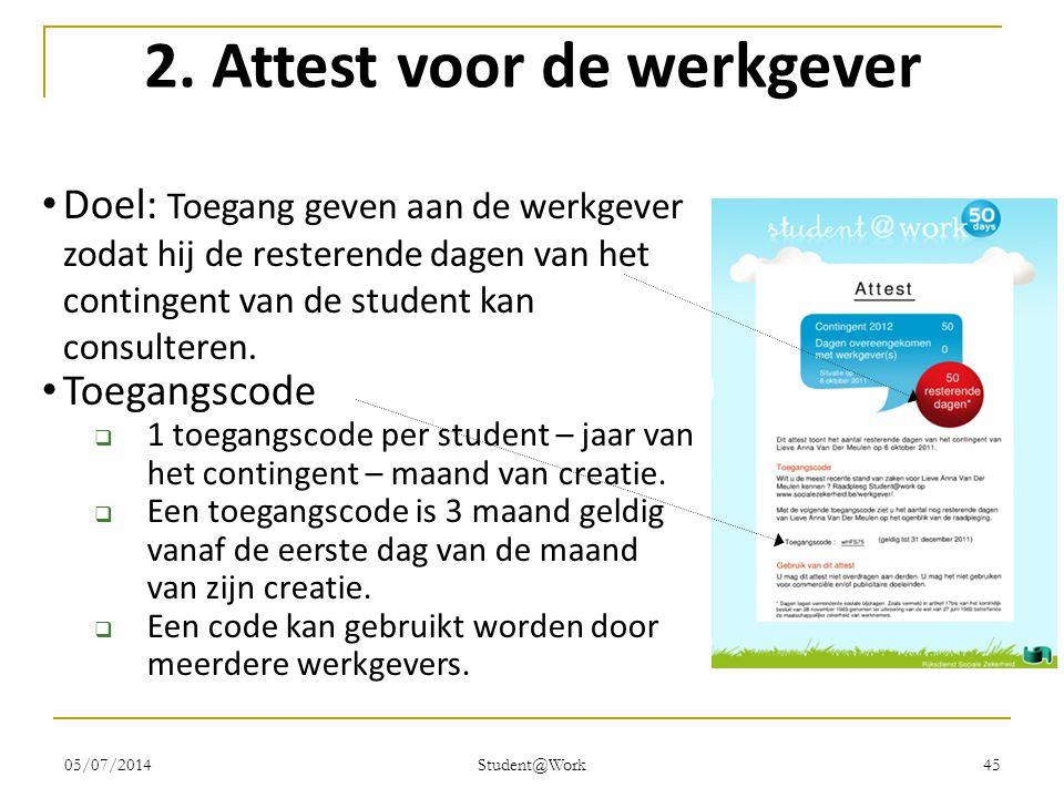05/07/2014 Student@Work 45 2. Attest voor de werkgever • Doel: Toegang geven aan de werkgever zodat hij de resterende dagen van het contingent van de