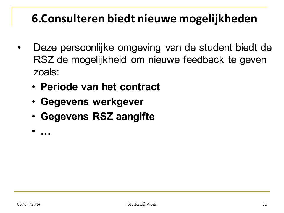 05/07/2014 Student@Work 51 6.Consulteren biedt nieuwe mogelijkheden •Deze persoonlijke omgeving van de student biedt de RSZ de mogelijkheid om nieuwe