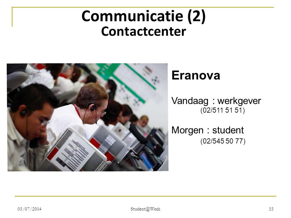 05/07/2014 Student@Work 55 Communicatie (2) Contactcenter Eranova Vandaag : werkgever (02/511 51 51) Morgen : student (02/545 50 77)
