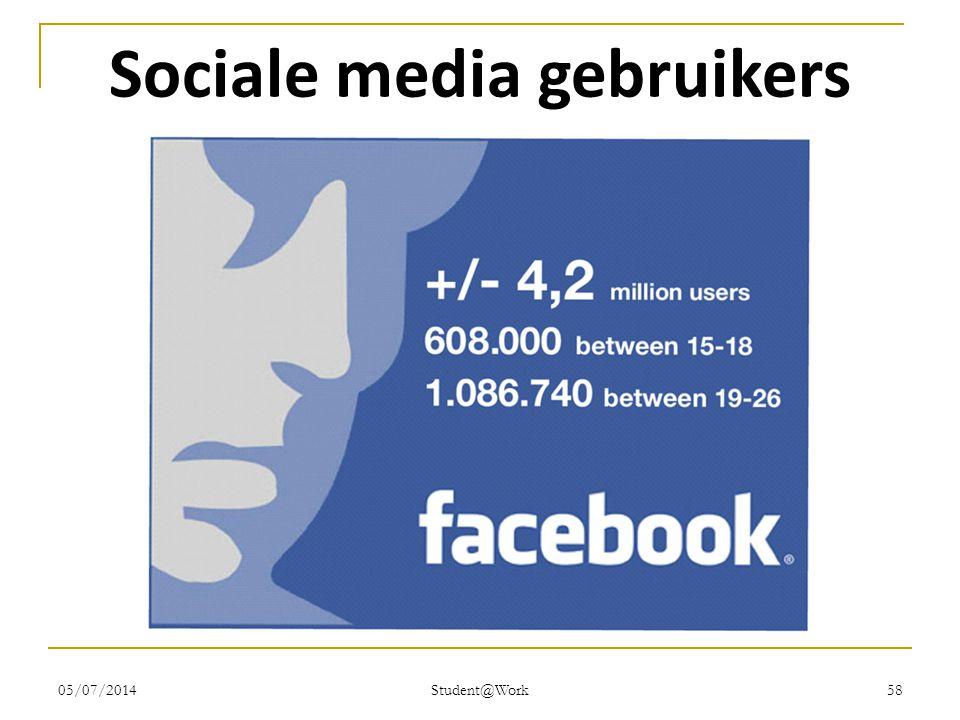 05/07/2014 Student@Work 58 Sociale media gebruikers
