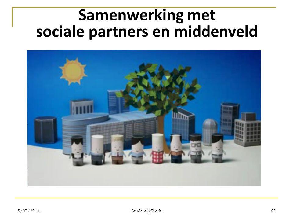 5/07/2014 Student@Work 62 Samenwerking met sociale partners en middenveld