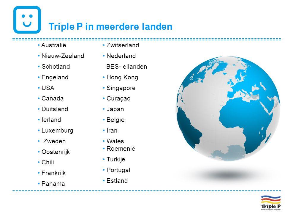 Triple P in meerdere landen • Australië • Nieuw-Zeeland • Schotland • Engeland • USA • Canada • Duitsland • Ierland • Luxemburg • Zweden • Oostenrijk