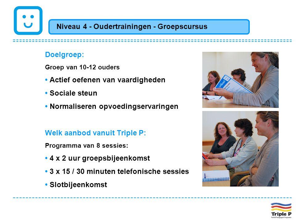 Doelgroep: Groep van 10-12 ouders • Actief oefenen van vaardigheden • Sociale steun • Normaliseren opvoedingservaringen Welk aanbod vanuit Triple P: P
