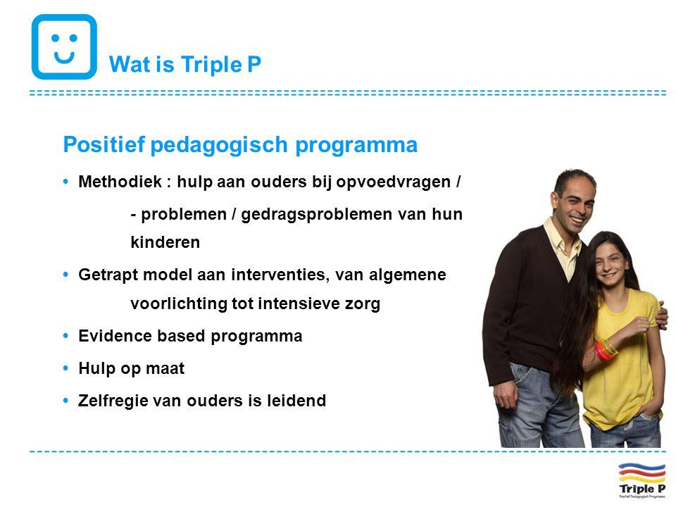Wat is Triple P Positief pedagogisch programma • Methodiek : hulp aan ouders bij opvoedvragen / - problemen / gedragsproblemen van hun kinderen • Getr