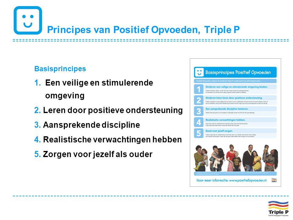 Principes van Positief Opvoeden, Triple P Basisprincipes 1.Een veilige en stimulerende omgeving 2. Leren door positieve ondersteuning 3. Aansprekende