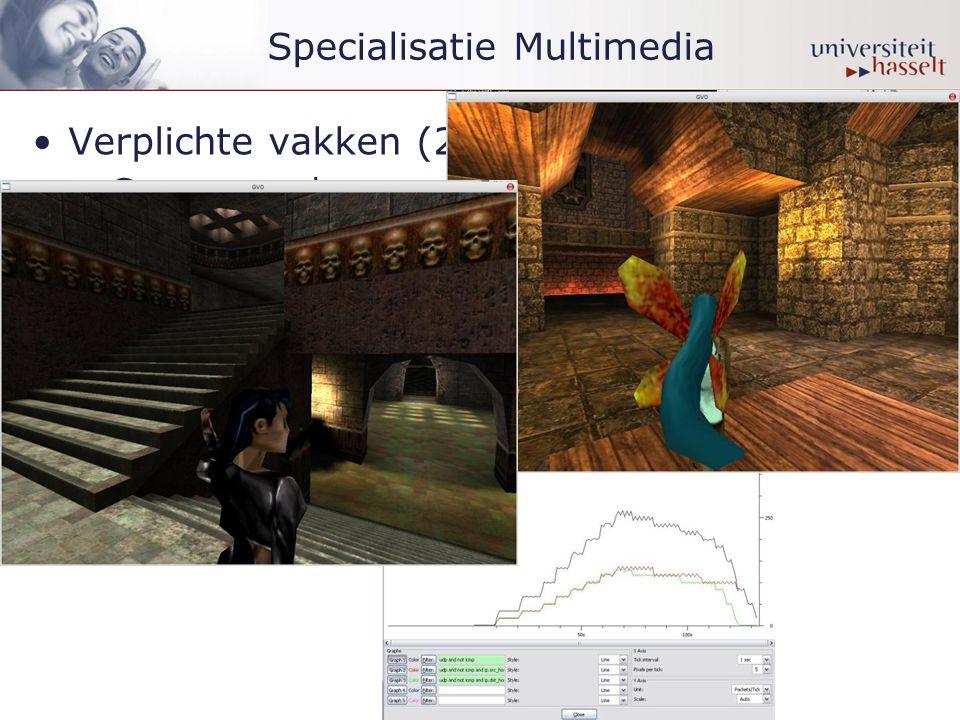 Specialisatie Multimedia •Verplichte vakken (20 SP): –Geavanceerde computer graphics –Capita selecta van de multimedia –Geavanceerde beeld- en videoverwerking –Genetwerkte virtuele omgevingen •In capita selecta -vorm