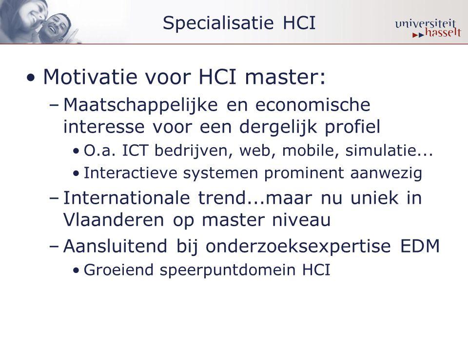 •Motivatie voor HCI master: –Maatschappelijke en economische interesse voor een dergelijk profiel •O.a.