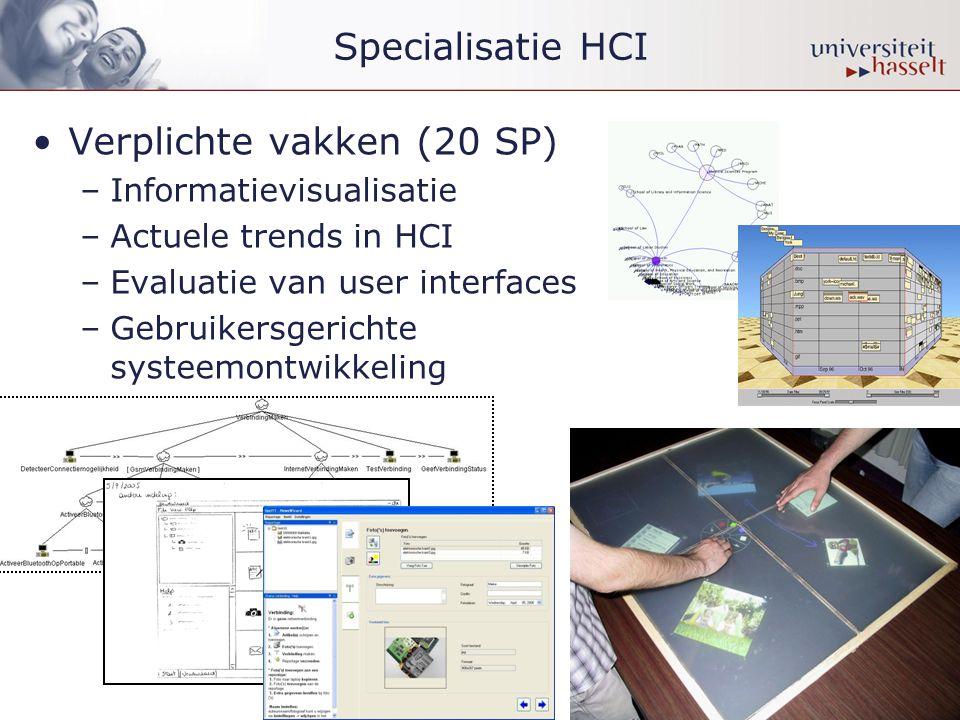 •Verplichte vakken (20 SP) –Informatievisualisatie –Actuele trends in HCI –Evaluatie van user interfaces –Gebruikersgerichte systeemontwikkeling
