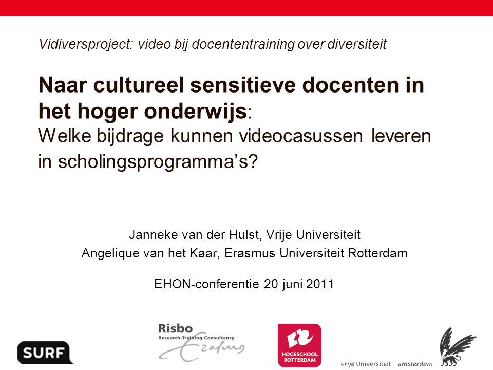 1 Vidiversproject: video bij docententraining over diversiteit Naar cultureel sensitieve docenten in het hoger onderwijs : Welke bijdrage kunnen video