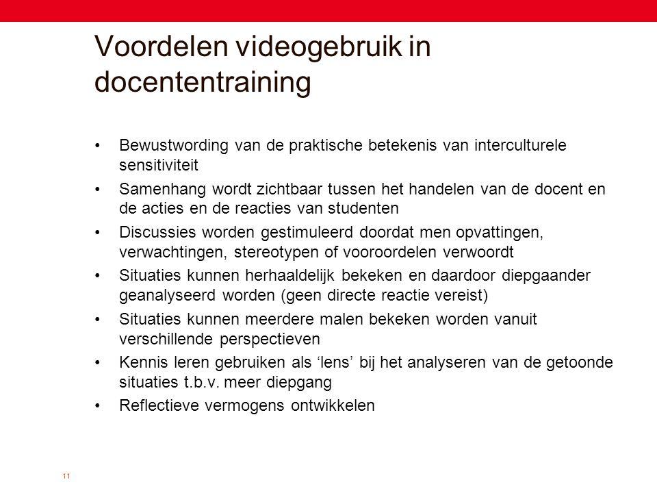 11 Voordelen videogebruik in docententraining •Bewustwording van de praktische betekenis van interculturele sensitiviteit •Samenhang wordt zichtbaar t