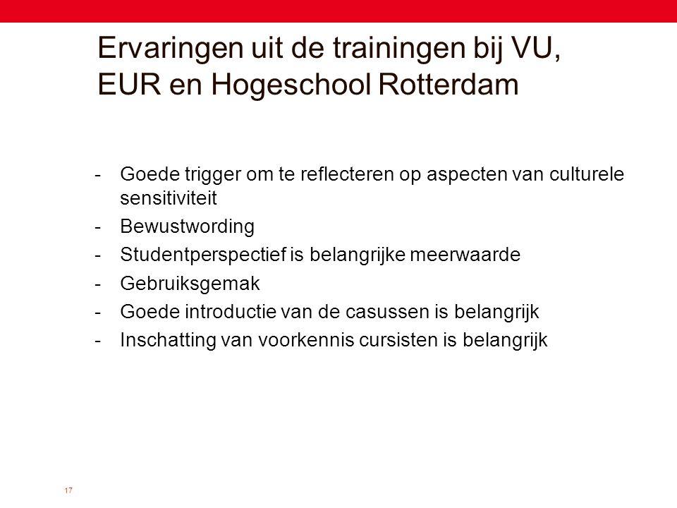 17 Ervaringen uit de trainingen bij VU, EUR en Hogeschool Rotterdam -Goede trigger om te reflecteren op aspecten van culturele sensitiviteit -Bewustwo