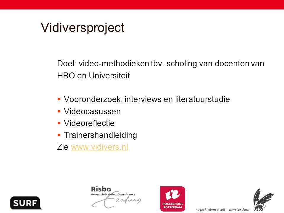 2 Vidiversproject Doel: video-methodieken tbv. scholing van docenten van HBO en Universiteit  Vooronderzoek: interviews en literatuurstudie  Videoca