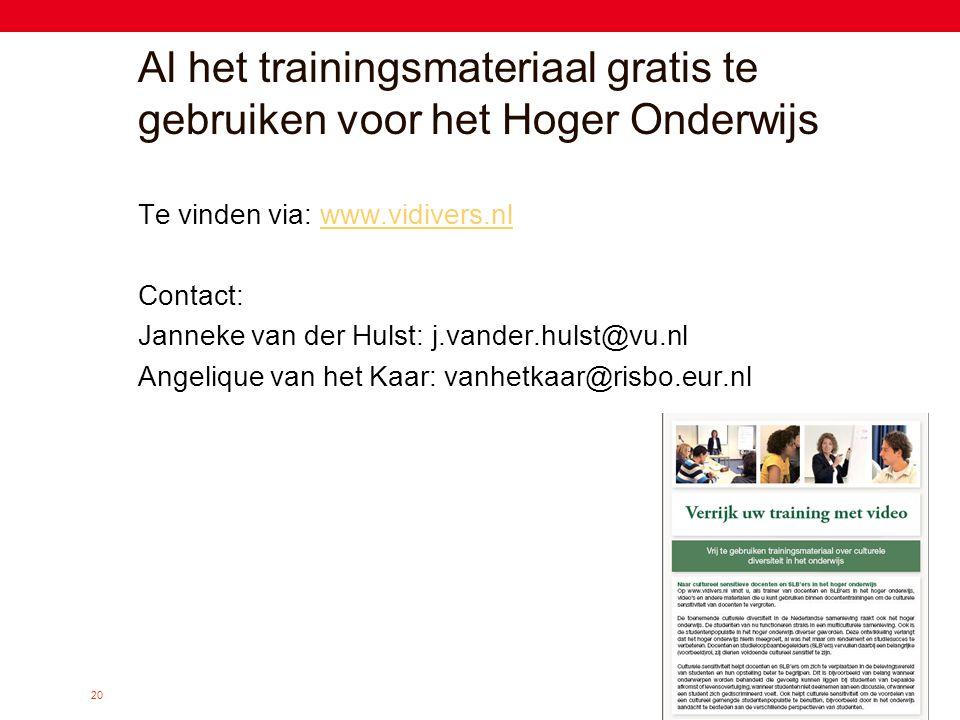 20 Al het trainingsmateriaal gratis te gebruiken voor het Hoger Onderwijs Te vinden via: www.vidivers.nlwww.vidivers.nl Contact: Janneke van der Hulst