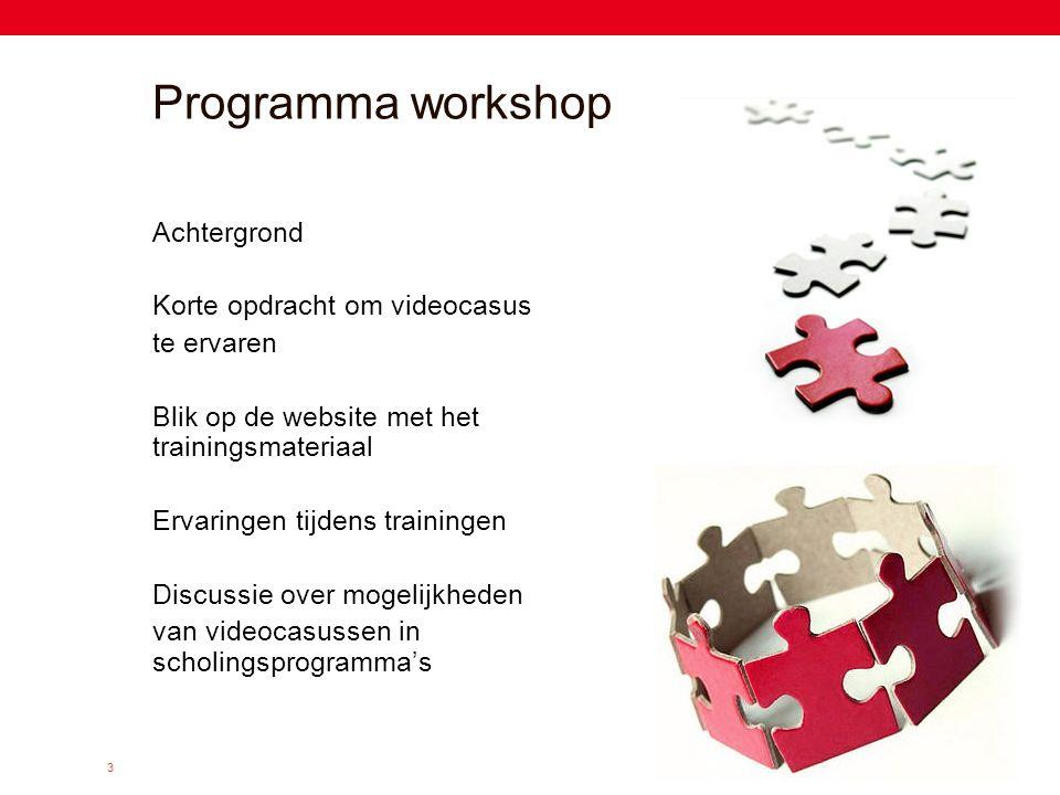 3 Programma workshop Achtergrond Korte opdracht om videocasus te ervaren Blik op de website met het trainingsmateriaal Ervaringen tijdens trainingen D