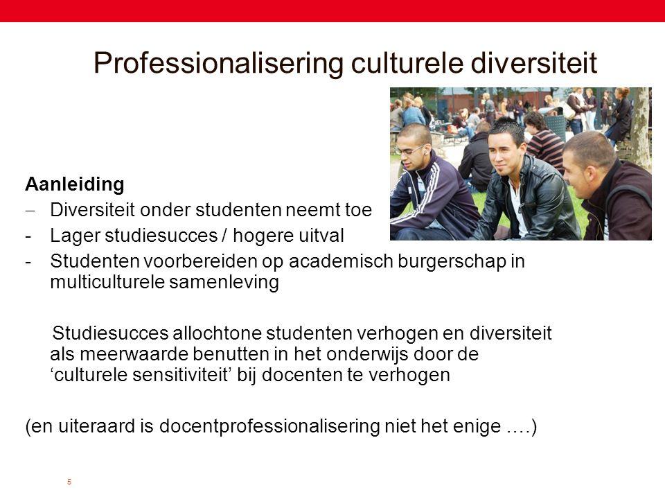 5 Professionalisering culturele diversiteit Aanleiding  Diversiteit onder studenten neemt toe -Lager studiesucces / hogere uitval -Studenten voorbere