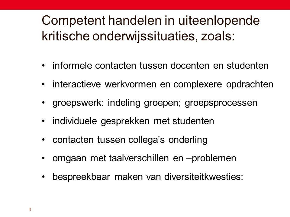 9 Competent handelen in uiteenlopende kritische onderwijssituaties, zoals: •informele contacten tussen docenten en studenten •interactieve werkvormen