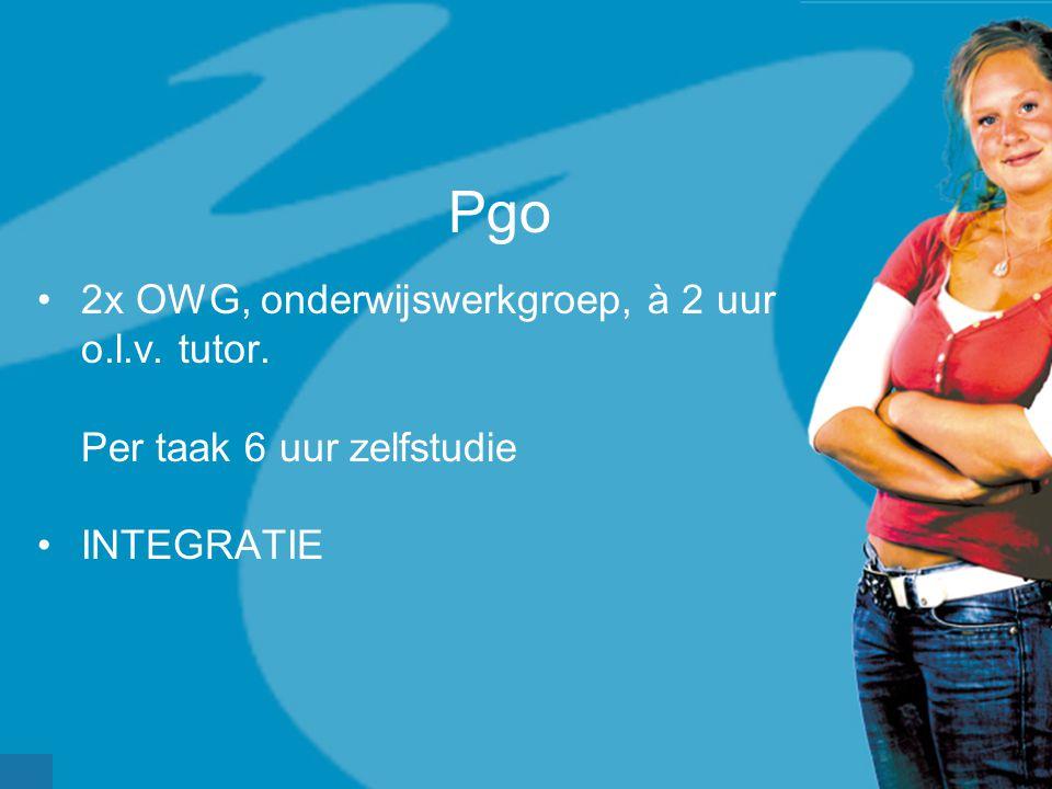 Pgo •2x OWG, onderwijswerkgroep, à 2 uur o.l.v. tutor. Per taak 6 uur zelfstudie •INTEGRATIE
